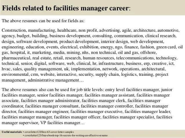 cover letter for facilities manager - Pinarkubkireklamowe