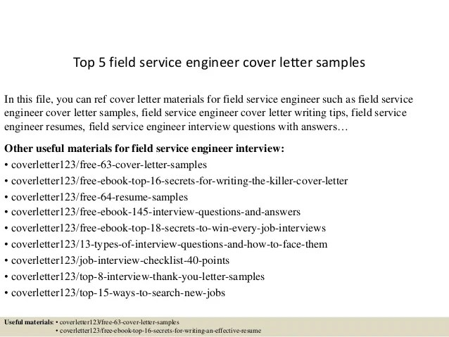 cover letter field service engineer - Onwebioinnovate