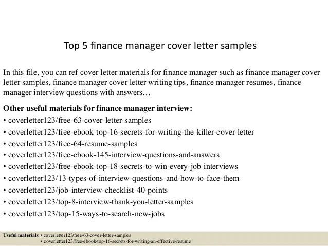 cover letter finance manager - Onwebioinnovate