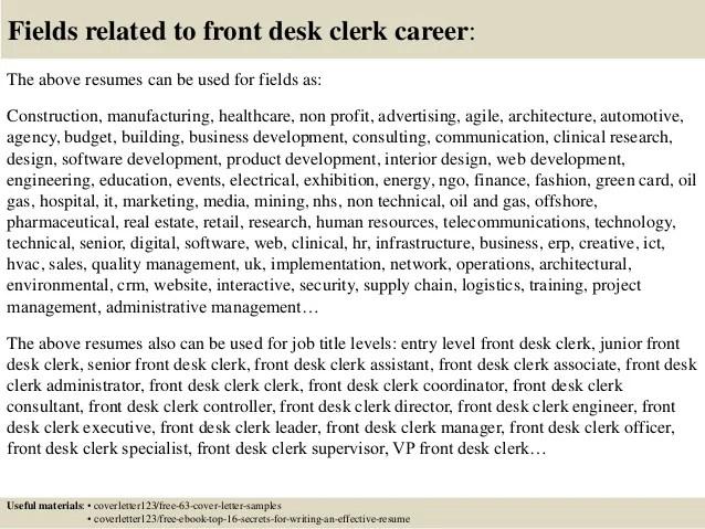 front desk clerk cover letters - Pinarkubkireklamowe