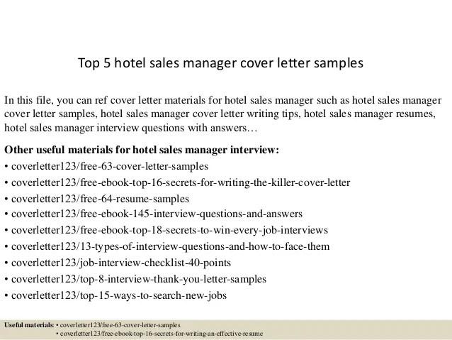 hotel sales cover letters - Ukranagdiffusion