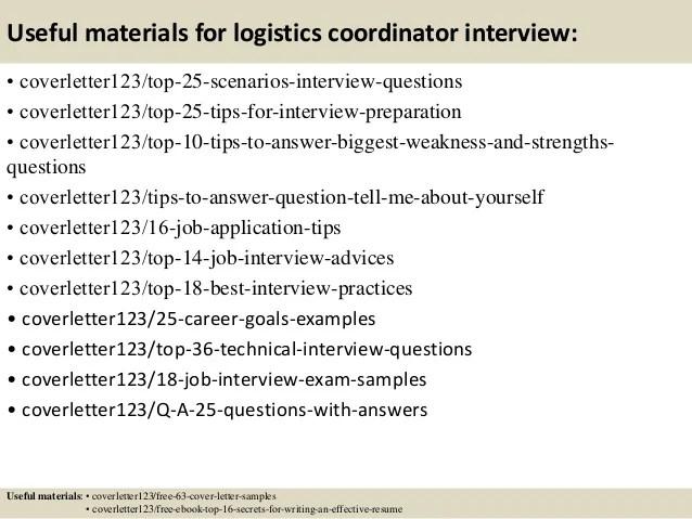 resume examples for logistics coordinator