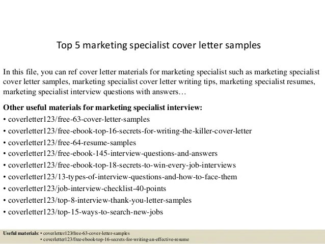 marketing specialist cover letters - Minimfagency