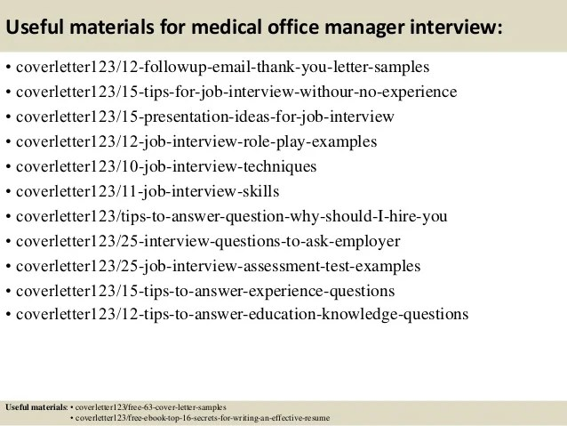 cover letter for medical office manager position - Alan