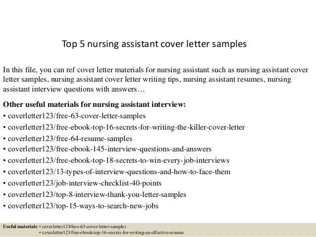 cover letter examples nursing assistant