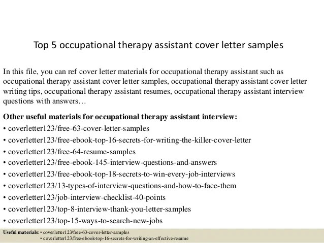 cover letter for occupational therapy assistant - Intoanysearch