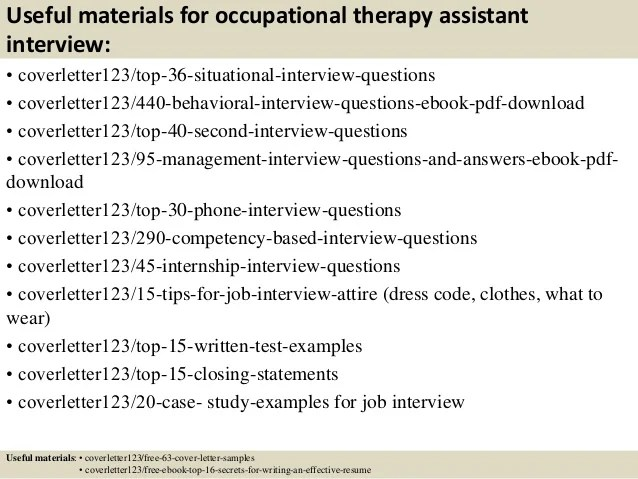 Pediatric Occupational Therapy Cover Letter
