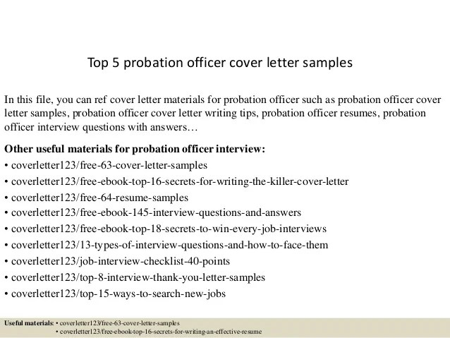 Executive Assistant Cover Letter Sample Top 5 Probation Officer Cover Letter Samples