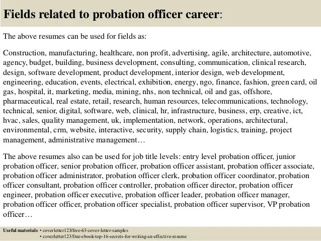 Assistant Probation Officer Sample Resume Enchanting Fire Chief