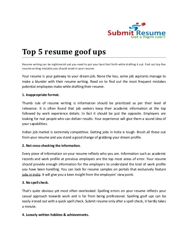 Examples Of Resume Presentation Examples Of Resumes To Download Resume Builder Top 5 Resume Goof Ups