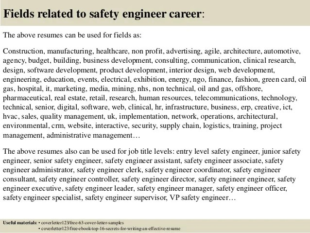 safety engineer cover letter - Selol-ink - dam safety engineer sample resume