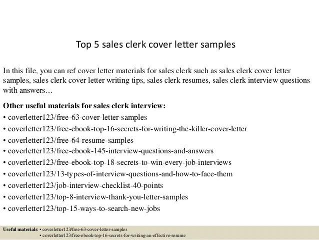 sales clerk cover letter - Ukranagdiffusion