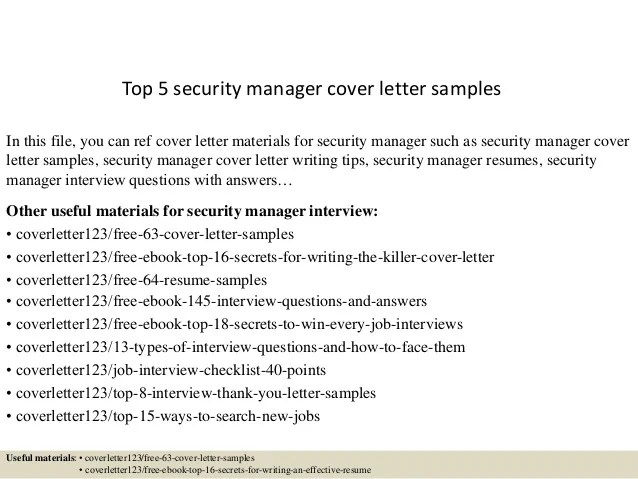 security supervisor cover letter - Hacisaecsa - security cover letter