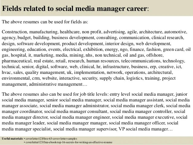 cover letter construction and building materials top 5 social media manager cover letter samples social - Social Media Manager Cover Letter