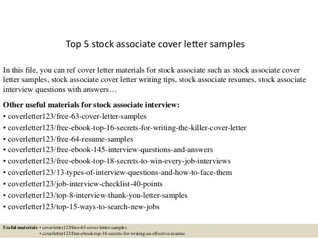 stock associate cover letter - Onwebioinnovate - stock associate resume
