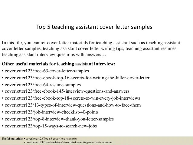 teacher assistant cover letter samples - Josemulinohouse