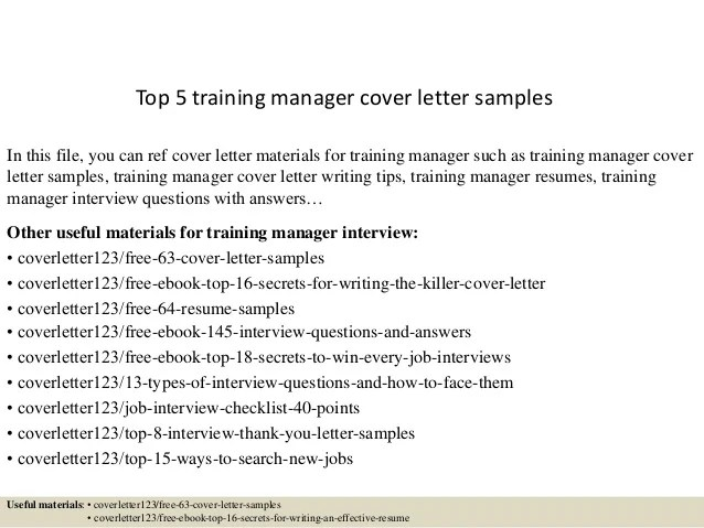 training manager cover letter - Ozilalmanoof