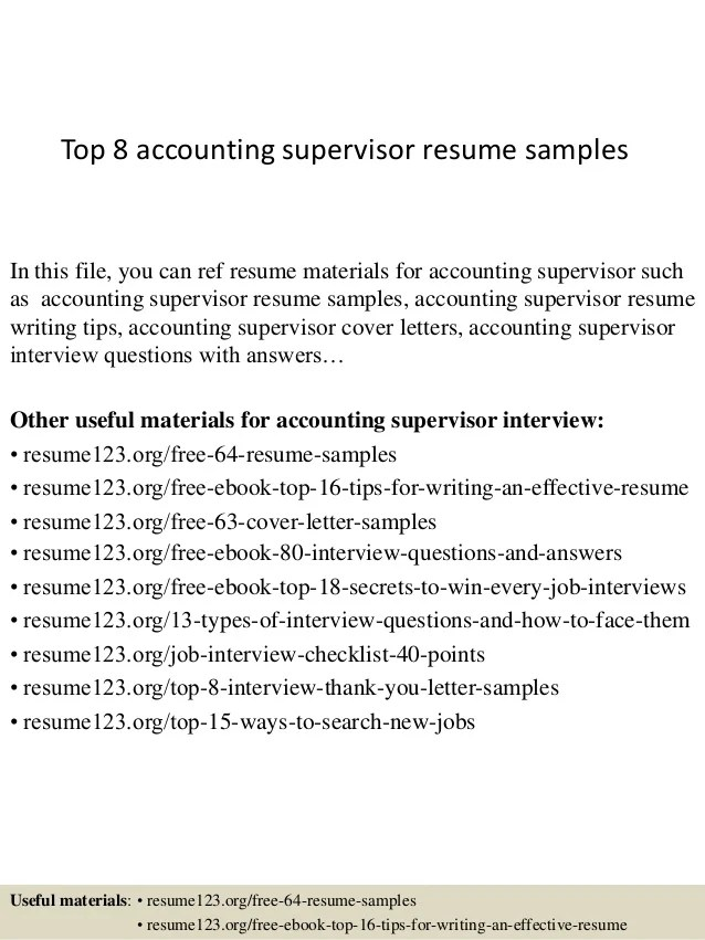 accounting supervisor resume - Alannoscrapleftbehind