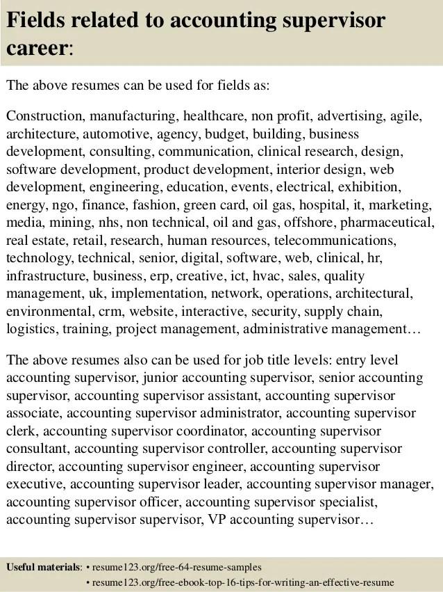 accounting supervisor resumes - Onwebioinnovate - supervisory accountant sample resume