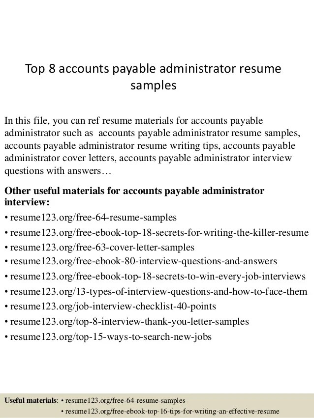sample of accounts payable resumes - Josemulinohouse