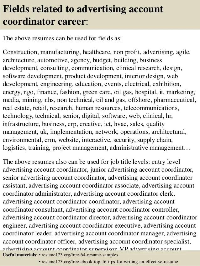 advertising coordinator resumes - Eczasolinf - account coordinator resume