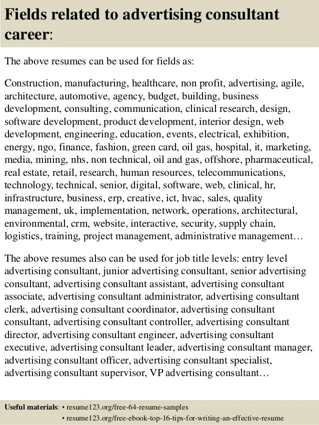 advertising consultant resumes - Funfpandroid