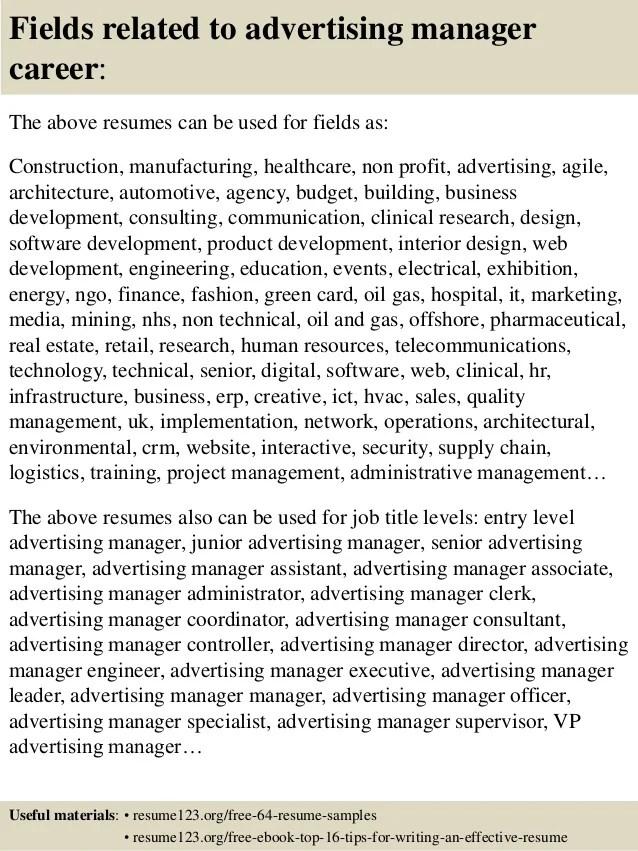 advertising manager resume job description - Goalgoodwinmetals