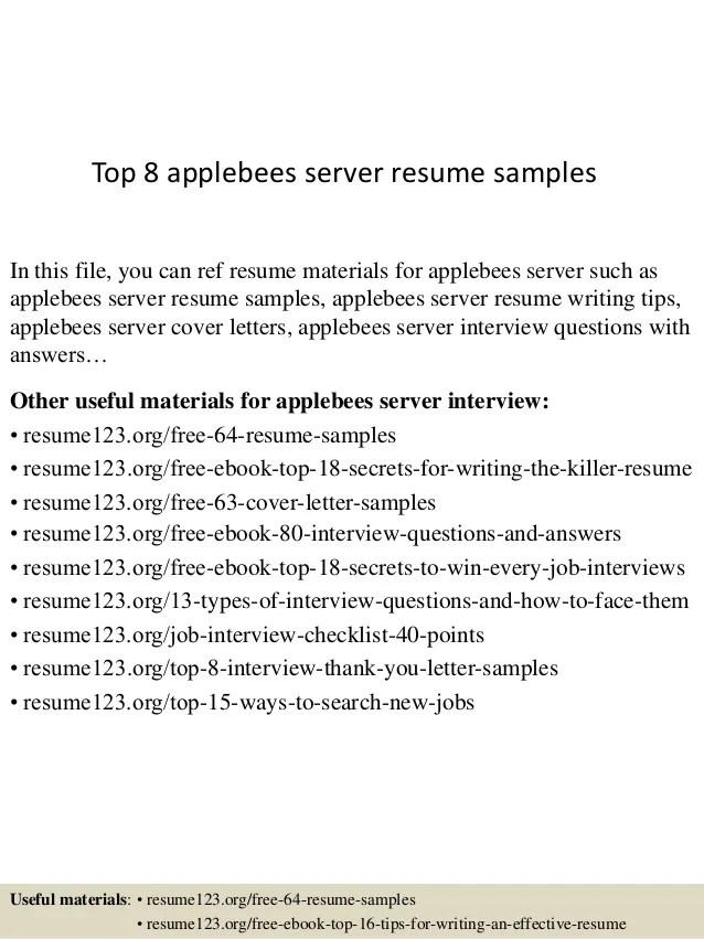 server resume sample free - Baskanidai - resume for server
