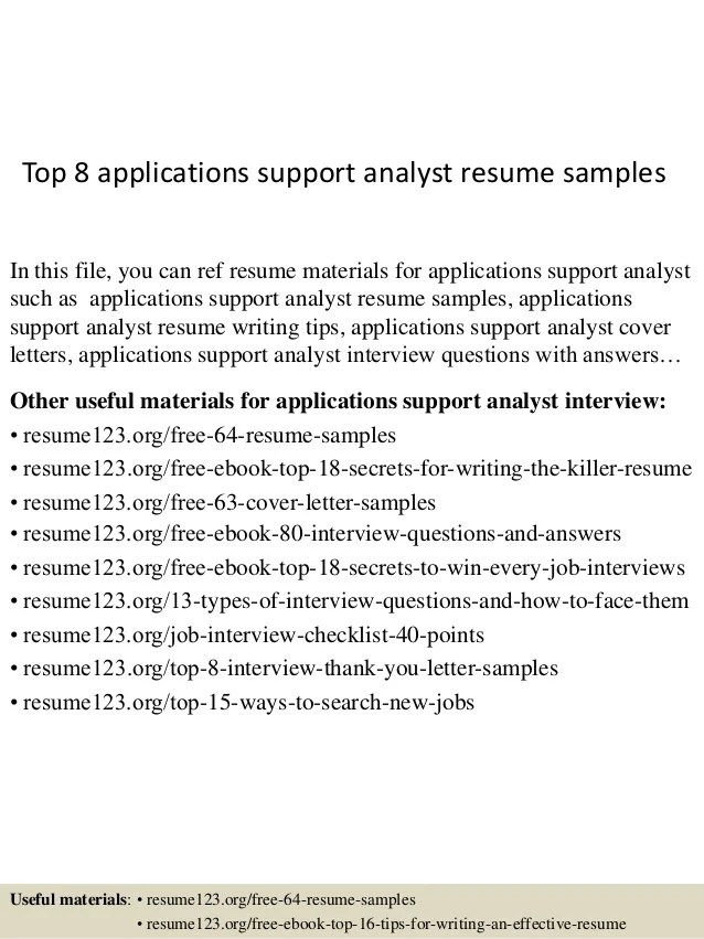 application support analyst resume sample - Ozilalmanoof
