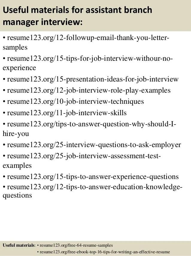 assistant branch manager resume job description - Josemulinohouse