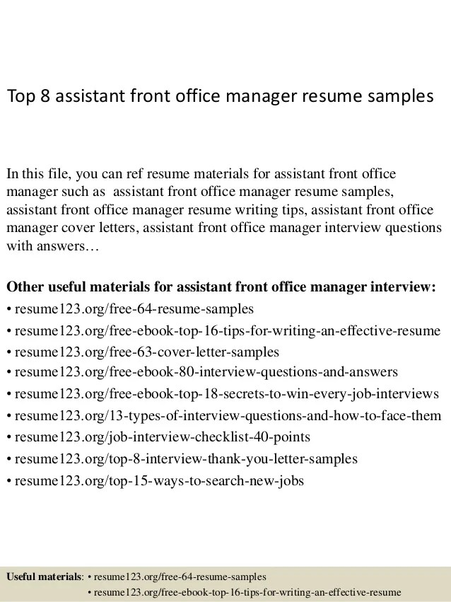 front office manager sample resume