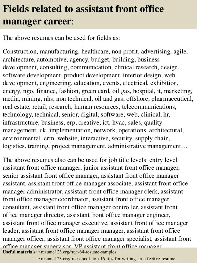 front desk resume examples - Alannoscrapleftbehind - front office resume examples