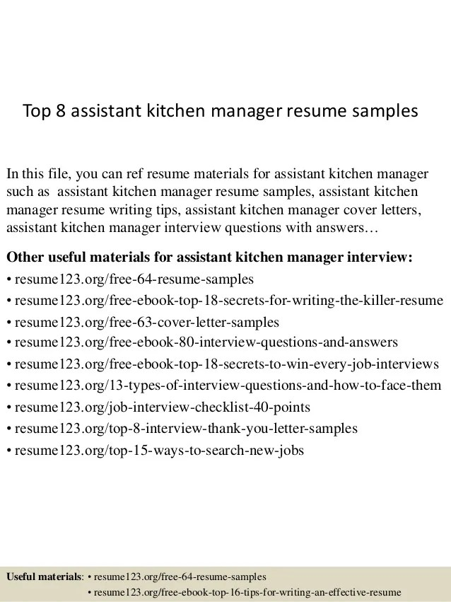 kitchen assistant resume cover letter