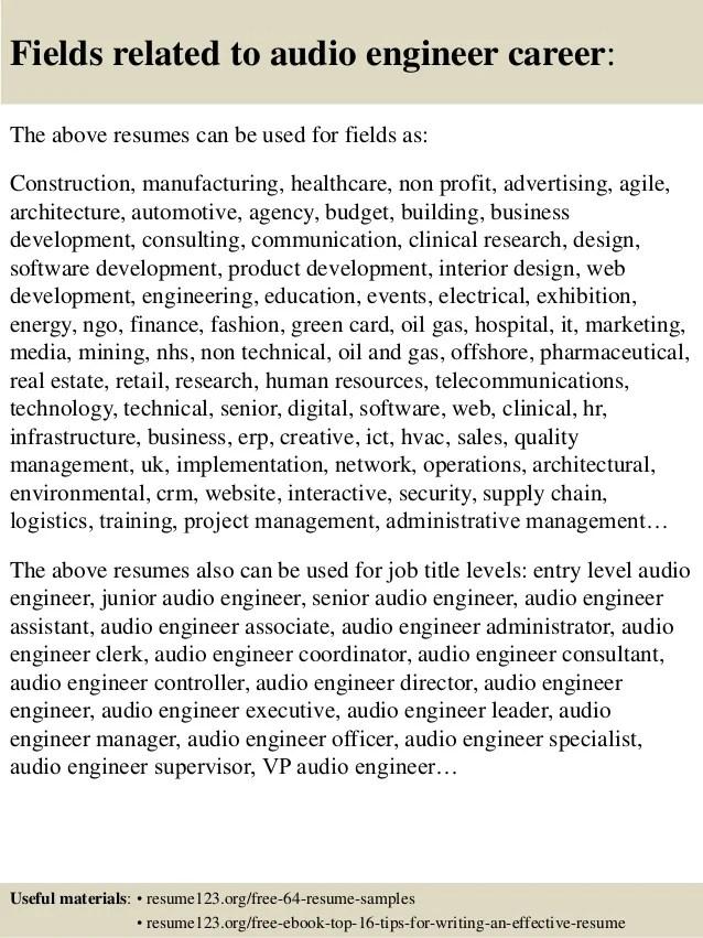 cover letters for assistant audio engineer - Erkaljonathandedecker