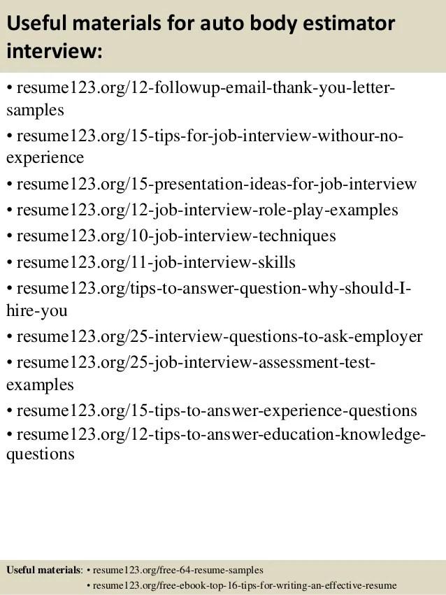 auto estimator resume examples