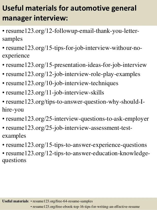 sample resume for general manager - Thevillas