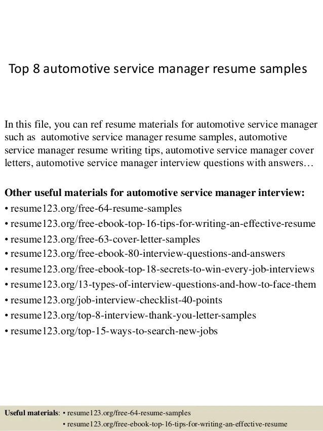 automotive service manager resume cover letter