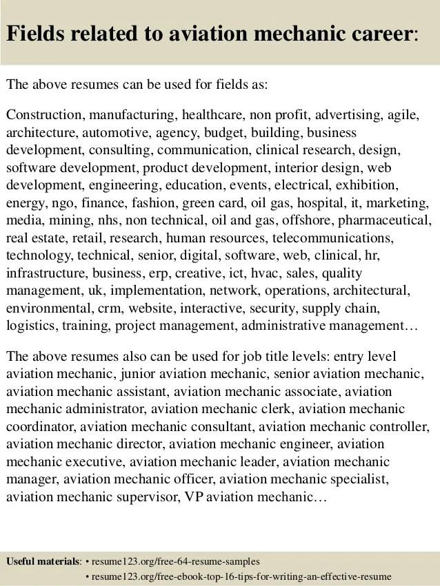 aviation mechanic resume - Akbagreenw - sample aircraft mechanic resume