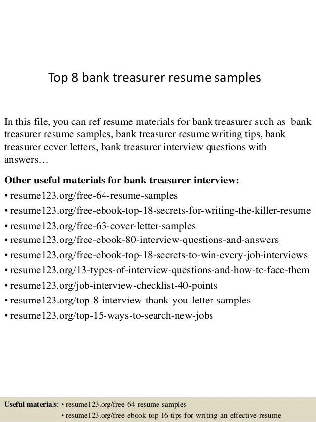 bank treasurer resume - Boatjeremyeaton - treasury analyst sample resume