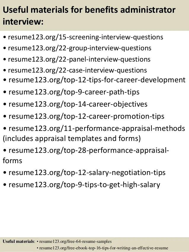 benefits administrator sample resume with objective - Onwe