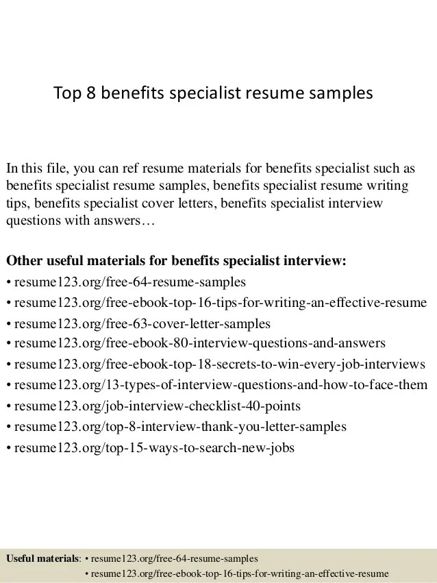 sample benefits specialist resume - Vatozatozdevelopment - wellness specialist sample resume