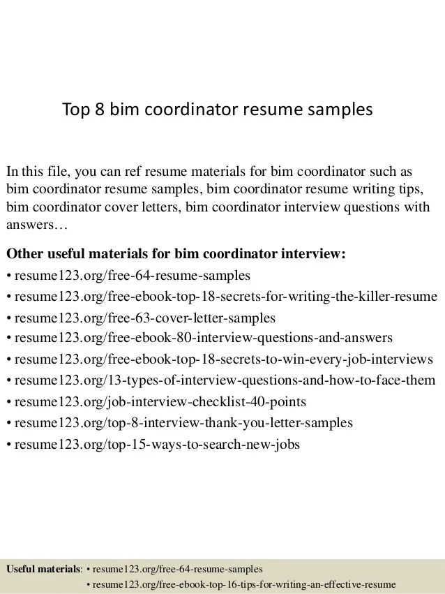 General Utility Worker Cover Letter Vocational Top 8 Bim Coordinator Resume Samples
