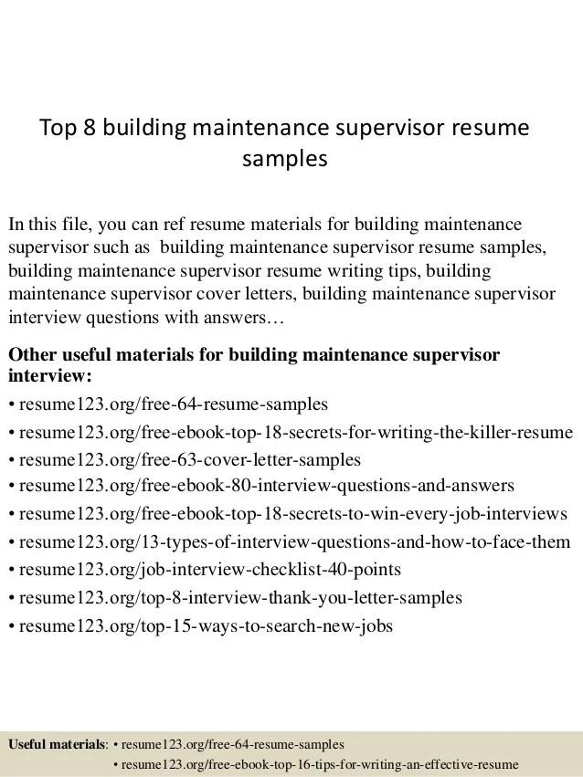 sample building maintenance resume