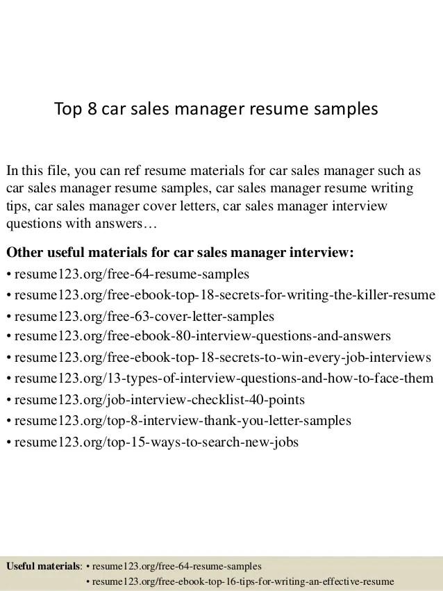 car sales resume samples