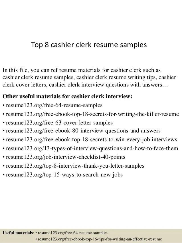 cashier clerk resume - Demireagdiffusion