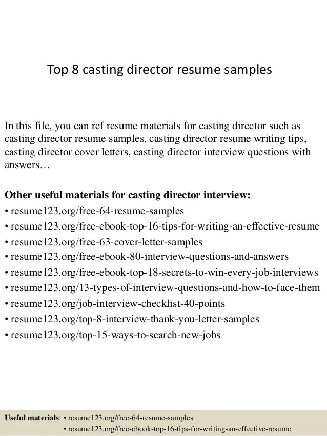 sample resume for casting director