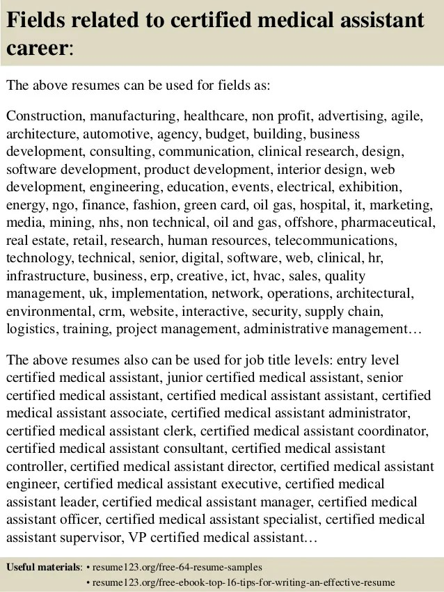 sample resume for certified medical assistant - Minimfagency - certified medical assistant resume sample