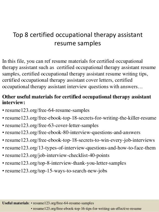 resume samples occupational therapist sample resume with - Sample Occupational Therapy Resume