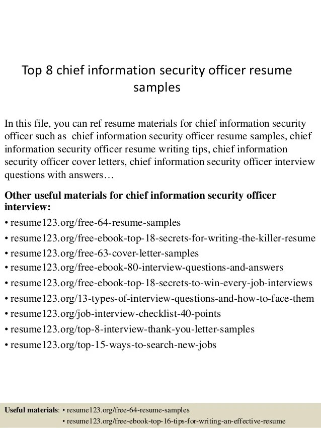 chief information security officer resume sample