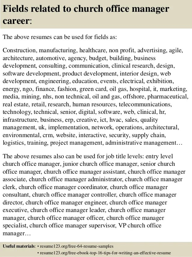 church office manager resume examples